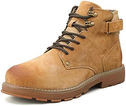 男性の屋外のハイトップシューズラウンドトウのレースアップ本革カジュアルバーニッシュスタイルバックホック&LoopStrapアニスリップ用半長靴 YueB HAL (Color : Golden, サイズ : 25 CM)