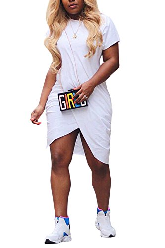 PinkWind Women Round Neck Short Sleeve Pleated High Slit Wrap Shorts Dress