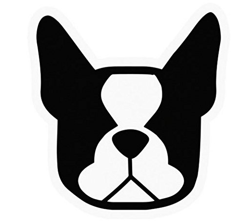 - Boston Terrier Dog Head Decal Vinyl Sticker|Cars Trucks Vans Walls Laptop| BLACK |5.5 x 5 in|CCI490