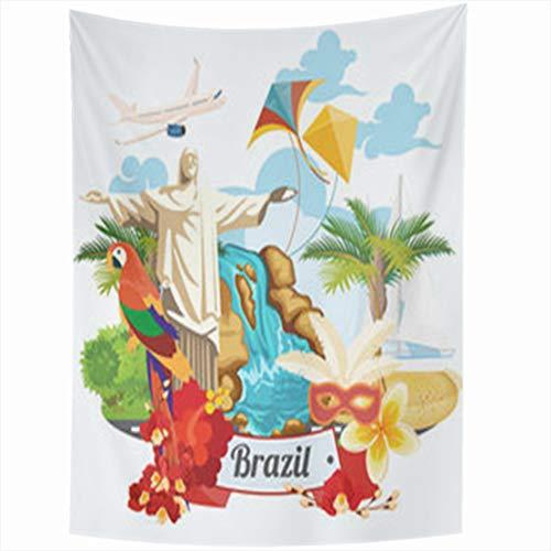 YeaSHARK Wall Hanging Tapestries 50 x 60 Inches Travel Brazil Colorful Modern Brazilian Landscape Monuments Rio De Janeiro Statue Jesus Tapestry for Home Bedroom Living Room Dorm (Statue De Jesus A Rio De Janeiro)