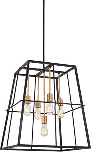 Minka Lavery Farmhouse Pendant Ceiling Lighting 4765-416 Keeley Calle, 5-Light 300 Watts, Painted Bronze