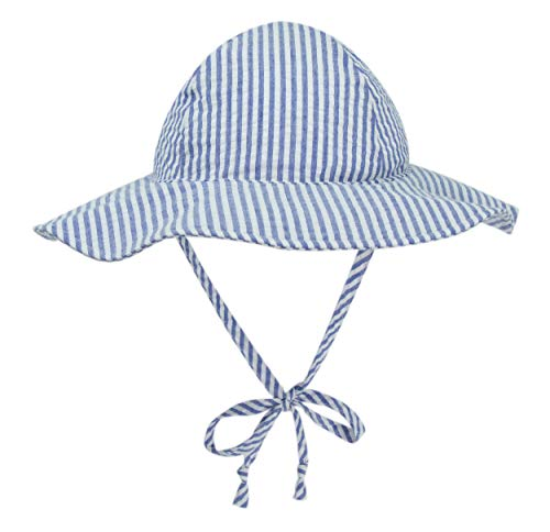 BELLEBEAUTIE Baby Floppy Wide Brim Sun Hat Kids Breathable Cotton Seersucker UPF 50+ Sun Protect Hat(10 Colors)