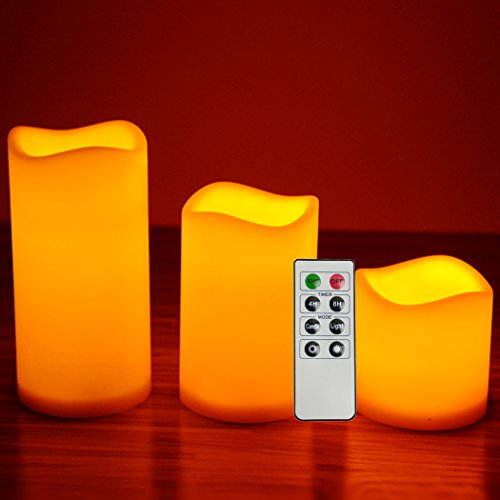Flameless Candles LED Elegant Realistic Artificial Design 3 in a Set Flickering Flames with Remote and Timer Great gift for Friends Bathroom Nightlight Home Decoration 8 Key