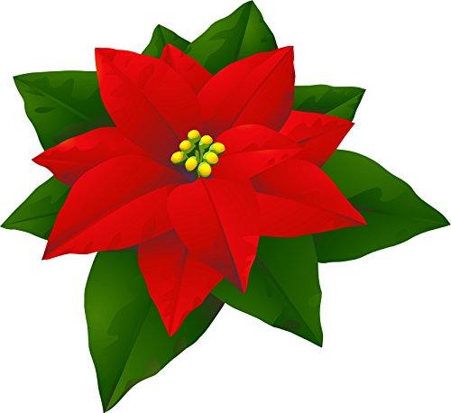 Pretty Poinsettia Christmas Holiday Flower Cartoon Vinyl Decal Sticker (12