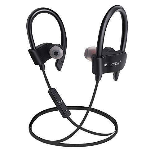 Wireless Bluetooth Earbuds Headphones Waterproof in Ear Flexible Earphone EarPlug Noise Cancelling Sport Headsets Compatible iPhone iPad Android Smart Bluetooth Device - Black from RVIXE