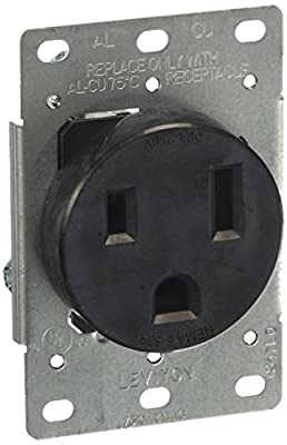 Leviton 5374-S00 50 Amp, 250 Volt, Flush Mounting Receptacle, Straight Blade, Industrial Grade, Grounding, Black