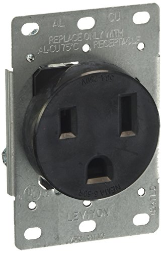 Leviton 5374-S00 50 Amp, 250 Volt, Flush Mounting Receptacle, Straight Blade, Industrial Grade, Grounding, Black, pack of 1, (Receptacle Flush Range)