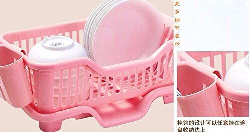 Drip Collage (Kitchen Sink Drain Rack the water drip Bowls Storage Holders Rack cutlery Shelf fruit and vegetable Dish Rack Set Drying Utensil Pink)