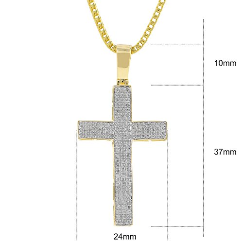 0.56ct Diamond Pave 3 Row Mens Hip Hop Cross Pendant Necklace in Yellow Gold Over 925 Silver (I-J, I2-I3) by Isha Luxe-Hip Hop Bling (Image #1)