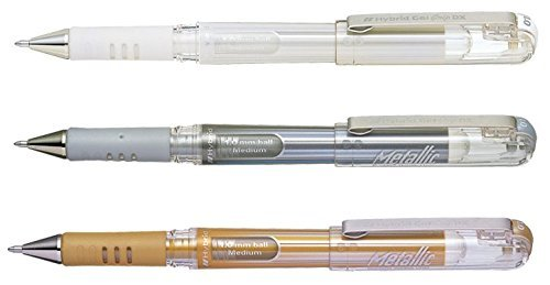 Pentel Hybrid DX Gel Ink Rollerball Pens Broad Line - Gold, Silver, White (Pentel Hybrid)