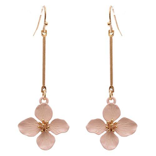 (Rosemarie Collections Women's Dangle Bar Flower Drop Earrings (Pink))