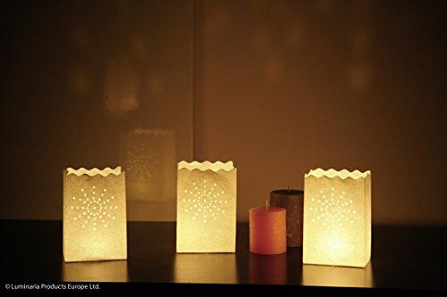 Wenko 8544100 Lichtertüte LUMINARIA Kleine Sonne - 10er Set, Windlicht, Pappe/Papier/Zellstoff, 11 x 16 x 9 cm, Weiß
