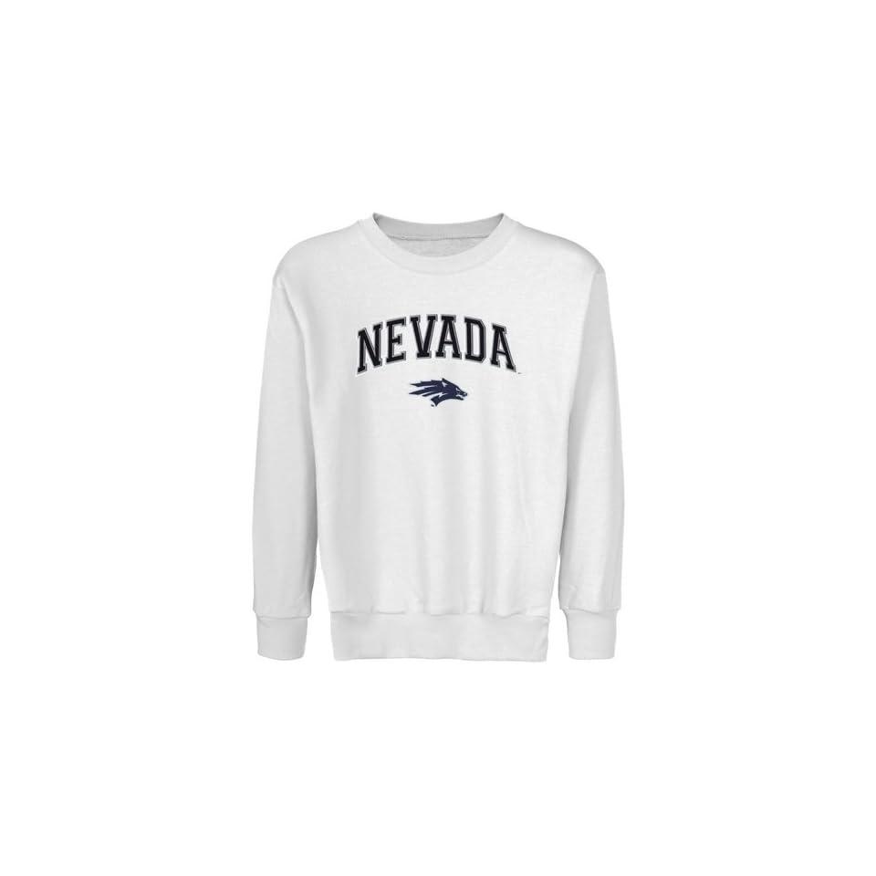 Nevada Wolf Pack Youth White Logo Arch Applique Crew Neck Fleece Sweatshirt