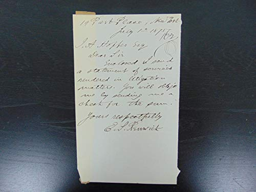 """Reaping Machine Inventor"" Edward S. Renwick Hand Written Letter Mueller COA from Unknown"