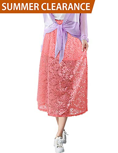 - LUOTILIA Casual Skirts for Women Long Length Skirts Layered Skirt Long (Pink, S)