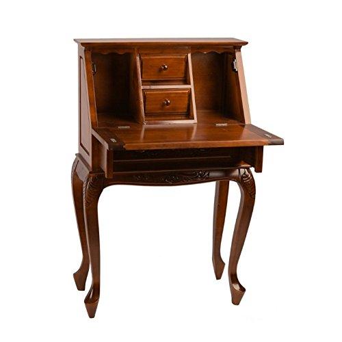 Hand Carved Secretary Desk - International Caravan Windsor Carved Wood Hard Wood Small Secretary Desk - Walnut