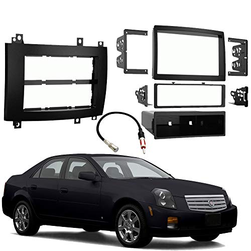 Fits Cadillac CTS 2003-2007 Single or Double DIN Stereo Radio Install Dash Kit Black ()