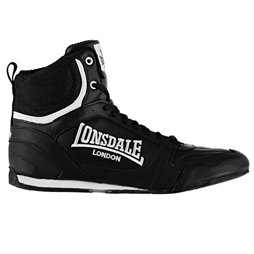 Lonsdale Mens Boxing Boots Training Lace Up Sport Shoes Trainers Footwear Black/White 9 (43) (Training Lonsdale)