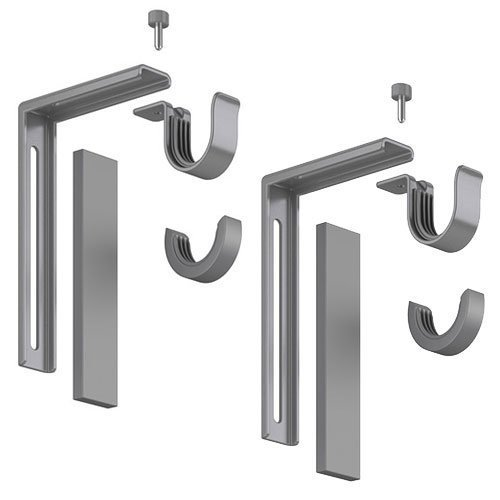 2 X Set of 2 Ikea Betydlig Wall or Ceiling Curtain Rod Brackets Steel Silver Adjustable