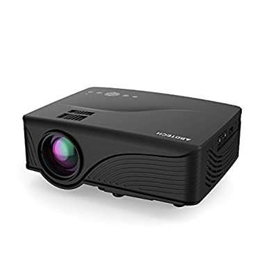 Abdtech 1200 Lumens Mini LED Multimedia Home Theater Projector - Max 120  Screen Optical Keystone USB/AV/SD/HDMI/VGA Interface - Ideal for Video Games, Movie Night, Family Videos and Pictures