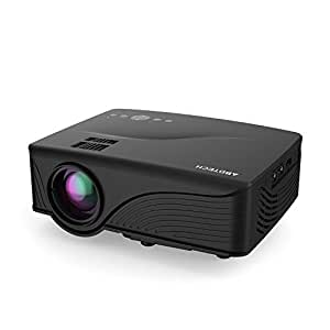 """Abdtech Mini LED Multimedia Home Theater Projector with 1200 Luminous Efficiency - Max 120"""" Screen Optical Keystone USB/AV/SD/HDMI/VGA Interface – Ideal for Video Games, Movie Night, Family Pictures"""