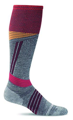Sockwell Mens Alpine Cushioned Ski Graduated Compression Socks, Grey, Medium/Large