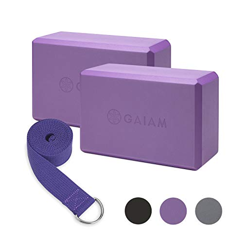 Gaiam Essentials Yoga Block 2 Pack & Yoga Strap Set, Deep Purple