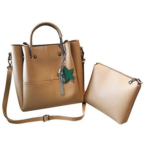 Sale Clearance Women Handbag Halijack Ladies Zipper 2 Pcs Shoulder Bag Lightweight Classic Modern Tote Shoulder PU Leather Bag Casual Messenger Bags Top-Hanle Crossbody Bags Khaki