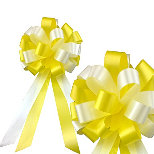Yellow and White Pull Bows - 8