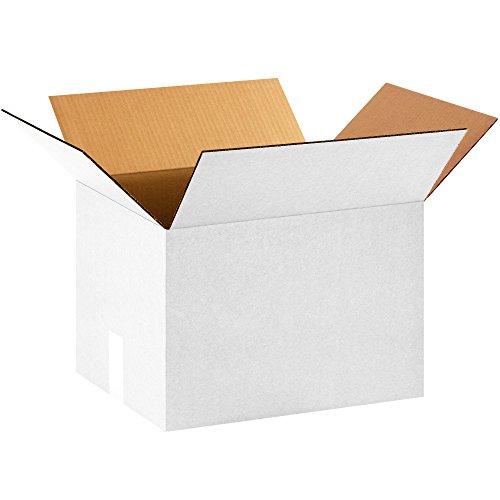 BOX USA B151210W Corrugated Boxes, 15L x 12W x 10H, White (Pack of 25)