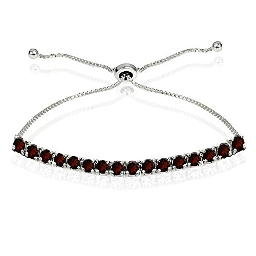 (Sterling Silver 3mm Garnet Round-cut Chain Adjustable Pull-String Bolo Slider Tennis Bracelet for Women Teens Girls)