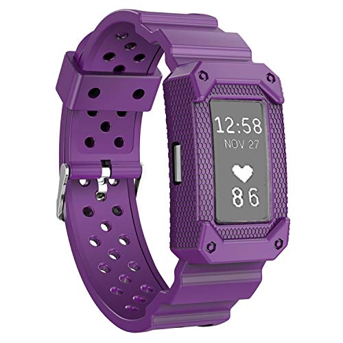 Moretek Unity Series Premium Hybrid Protective Bumper Protective Case for Fitbit Charge 2 smart watch accessories Replacement band (Purple) by Moretek