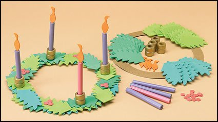 Christmas Arts and Crafts Kit for 9-inch Foam Wood Advent Wreath with Candles -