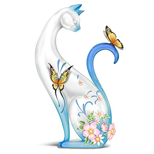 The Hamilton Collection Lena Liu Porcelain Cat Figurine: Hand Formed Butterflies and Swarovski Crystals