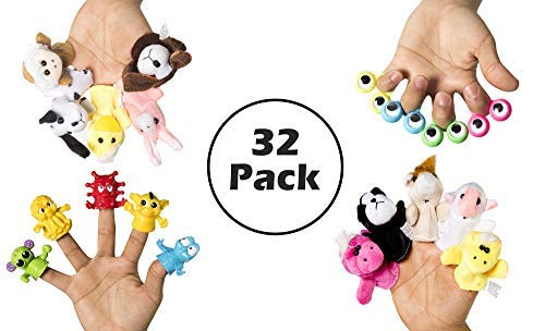 Display Puppet Finger - Variety 32 Piece Pack of Plastic & Plush Finger Puppets These Cute Animal and Monster Dolls are Great for School and Home for Playtime and Puppet Shows