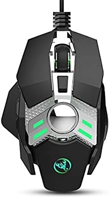 Color : Black KANEED J200 7 Keys Programmable Wired E-Sports Mechanical Mouse with Light Gaming Mice Black