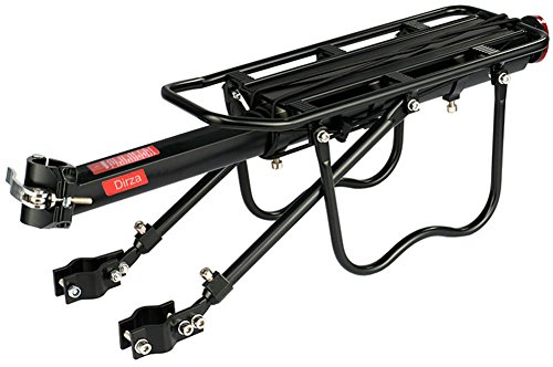 Dirza Rear Bike Rack Bicycle Cargo Rack Quick Release Adjustable Alloy Bicycle Carrier 115 Lb Capacity Easy to Install (Aluminum Rear Rack)