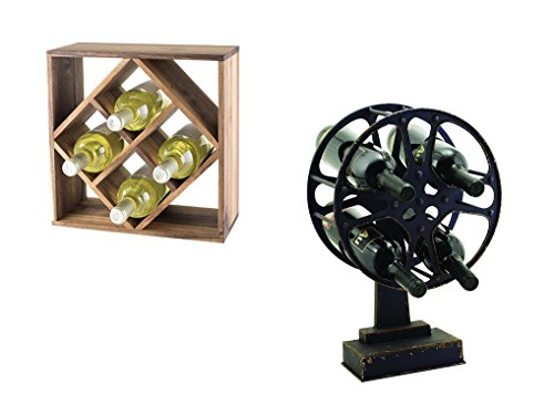 Twine Acacia Wood Lattice Wine Rack and Movie Reel Wine Holder, Set of 2 by Twine