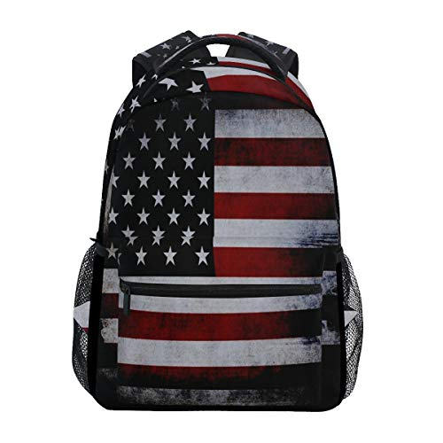 Women/Man Canvas Backpack American Flag Red Vintage Zipper College School Bookbag Daypack Travel Rucksack Gym Bag for Youth