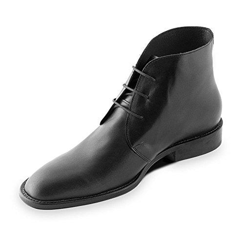 Masaltos Scarpe con Rialzo per Uomo Che Aumentano l'Altezza Fino a 7 cm. Fabbricate in Pelle. Modello Lugano Nero