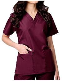 Maevn Womens Unisex V-Neck Two Pocket Scrub Top and Flare Leg Pant Set Wine Size 2X-Large