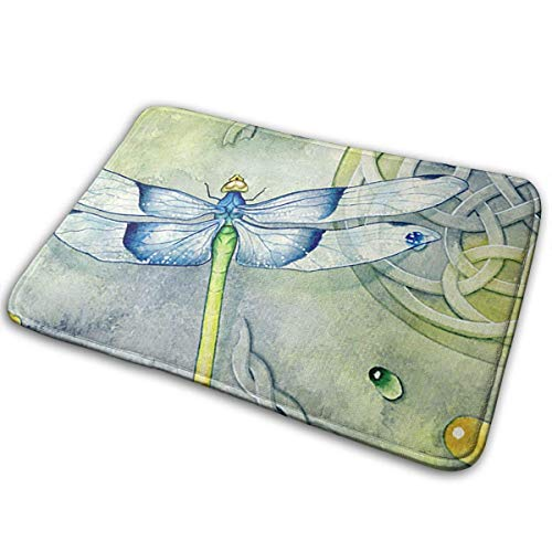 Watercolor Dragonfly Decor,Anti-Slip Machine-Washable Doormats Bathroom Kitchen Rug Front Door Mats Thicken Playmat Multi-purpose Floorcover 31.5(L) X 19.7(W) Inch