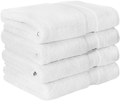 Premium Bath Towel Set (Pack of 4, 27 x 54) 100% Ring-Spun Cotton Towels for Hotel and Spa, Maximum Softness and Highly Absorbent by Utopia Towels (White)