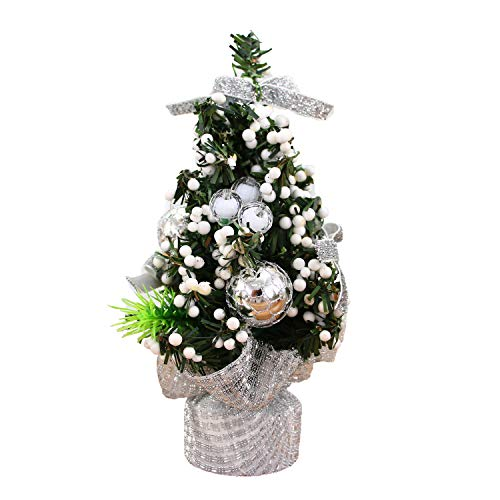 TopgalaxyZ 8 inch Tabletop Christmas Tree Christmas Ball Ornaments Fir Artifical Christmas Tree Decor in Cloth Bag Small Christmas Tree Silver