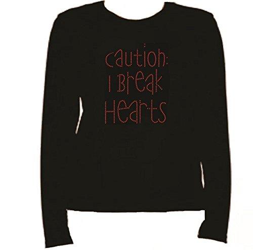 Rhinestone Break Hearts Rhinestone T Shirt L-R RS4X (2XL, Black)