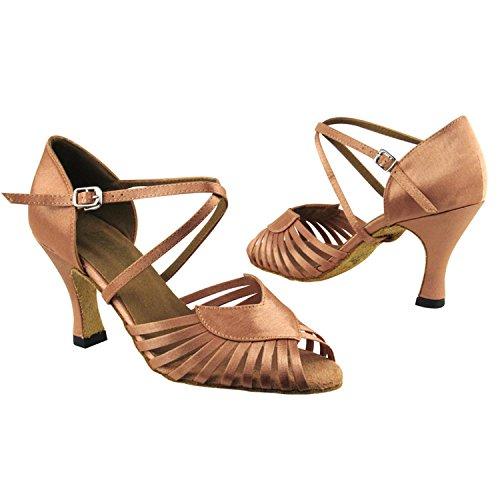 """Gold Taube Schuhe 50 Shades Of Tan Tanzkleid Schuhe Collection-III, Komfort Abend Hochzeit Pumps: Ballroom Schuhe für Latein, Tango, Salsa, Swing, Kunst von Party Party (2,5 """", 3"""", 3,5 """"Heels) 2717 Brauner Satin"""