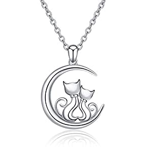 LUHE Cat Earrings,Cat Pendant Necklace Sterling Silver Cute Hypoallergenic Double Cat Jewelry for Women Girls Sisters, Mother and Daughter (Cat Pendant Necklace)