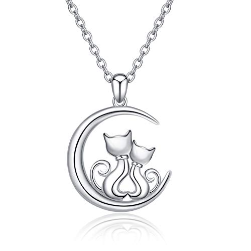 (LUHE Cat Pendant Necklace 925 Sterling Silver Cute Hypoallergenic Double Cat Necklace Jewelry Gift for Mother Daughter(Cat Pendant)