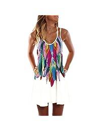 Tootu Boho Sexy Women Sleeveless Party Summer Beach Short Mini Dress
