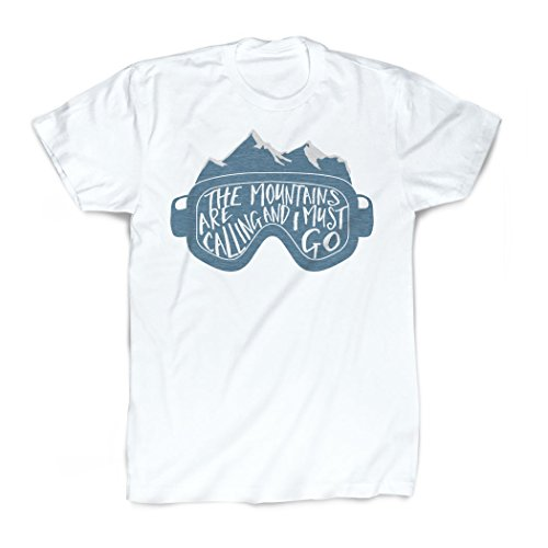 The Mountains Are Calling Goggles T-Shirt | Vintage Faded Skiing T-Shirt by ChalkTalkSPORTS | Adult Large - Double Sided Mountain T-shirt
